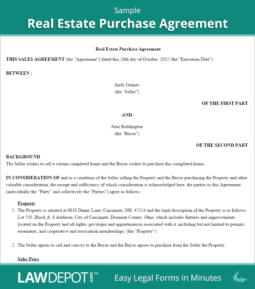 Real Estate Purchase Agreement (United States) Form LawDepot