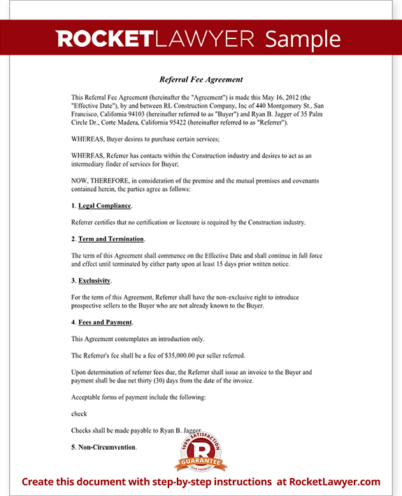 referral agreement template real estate referral fee agreement