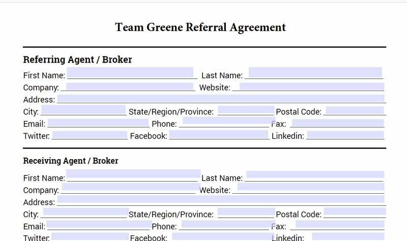 Real Estate Referral Agreement Fill Online, Printable, Fillable