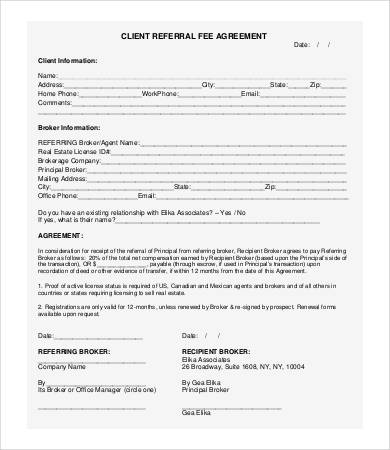 free referral fee agreement template referral agreement templates