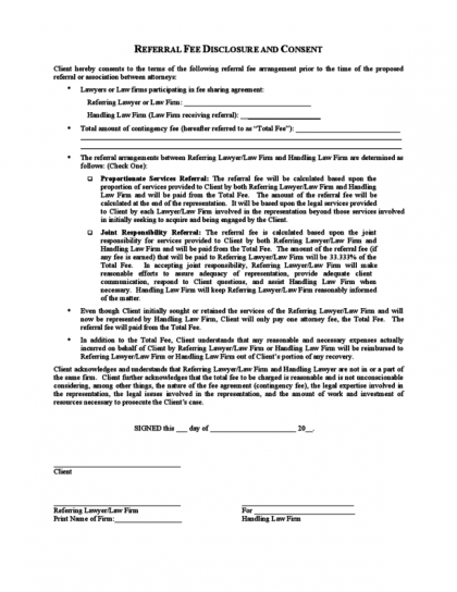 referral fee agreement template fee agreement template referral