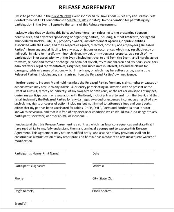 image release agreement template 9 release agreement templates