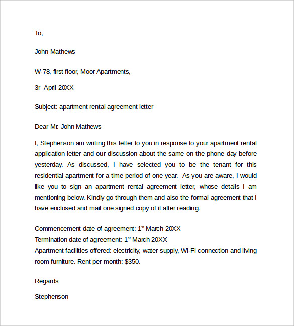 tenant agreement letters Ecza.solinf.co