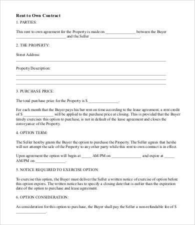 rent to own agreement template rent to own contract 4 free word
