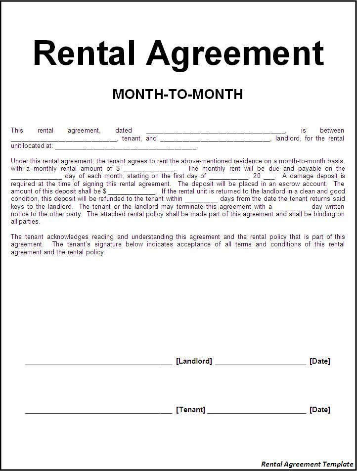 Printable Sample Rental Lease Agreement Templates Free Form | Real