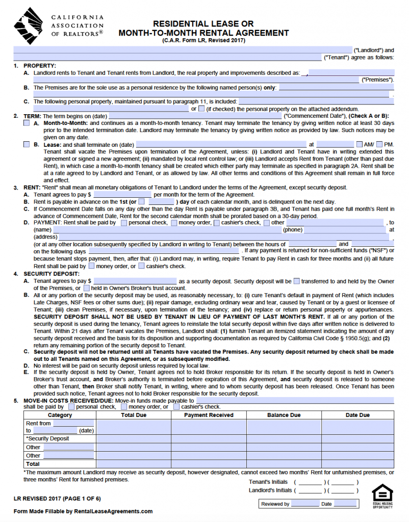 Free California Standard Residential Lease Agreement Template