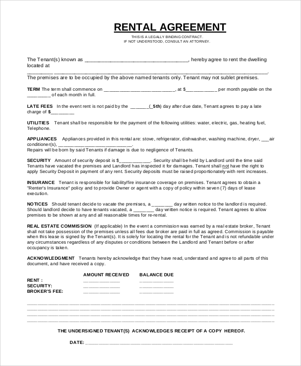 Contract For Tenant Inspirational Sample Rental Agreement Contract