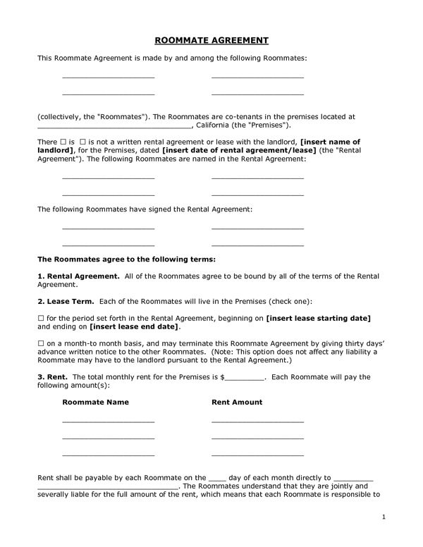 Printable Sample Roommate Agreement Form Form | Real Estate Forms