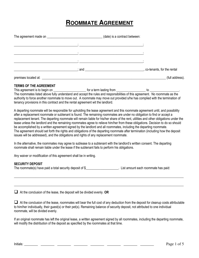 Free Connecticut Roommate (Room Rental) Agreement Form Word