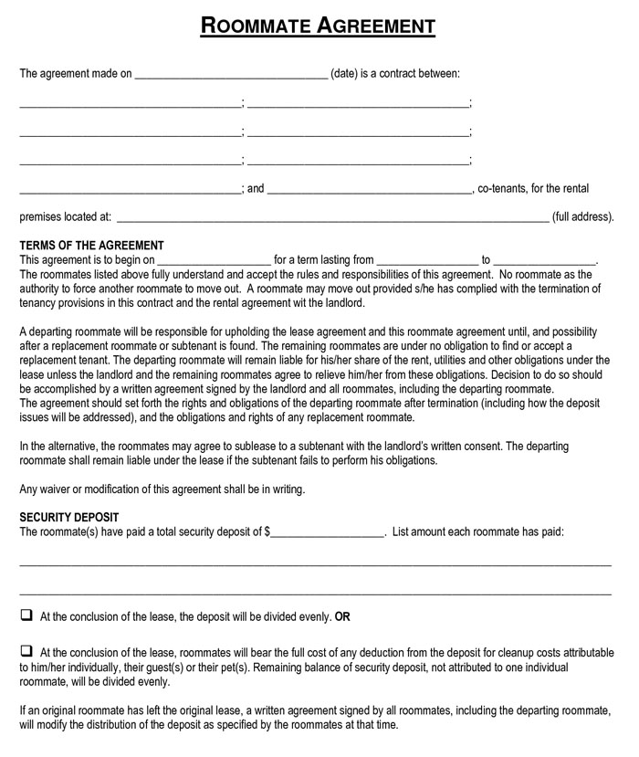 rental agreement template for roommates roommate lease agreement