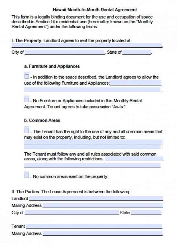 Free Hawaii Month to Month Lease Agreement | PDF | Word (.doc)
