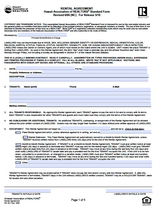 Free Hawaii Residential Lease Agreement – PDF Template