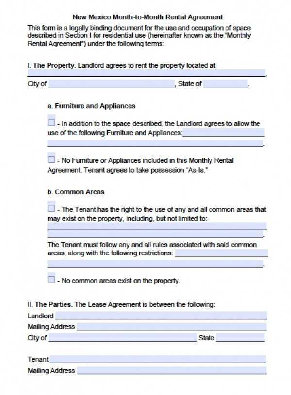 Free New Mexico Month to Month Lease Agreement | PDF | Word (.doc)