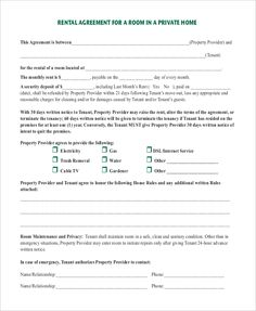 Room Rental Agreement in Private Home PDF Download , 9+ Room