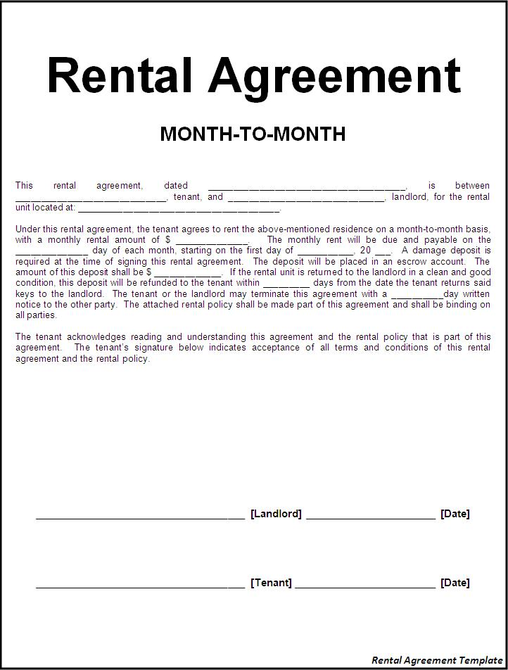 rental agreement contract template tenant agreement template