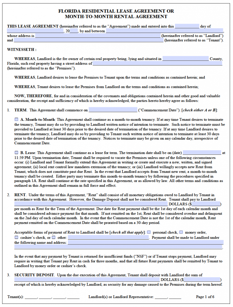 Free Florida Residential Lease Agreement Template – PDF – Word