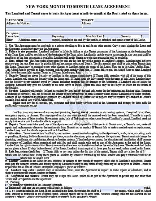 Free New York Month to Month Rental Agreement – PDF Template