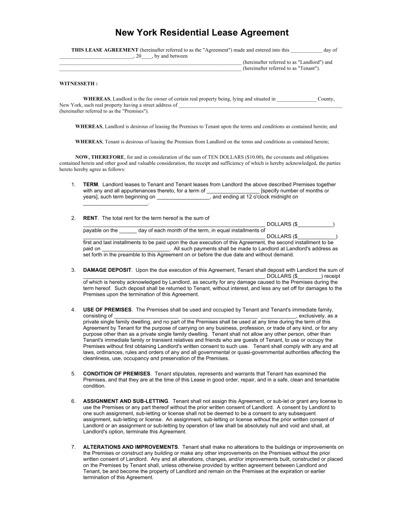 Free New York Standard Residential Lease Agreement Template PDF