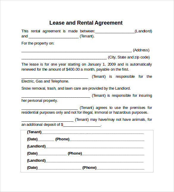 Rental Lease Agreement Sample Gtld World Congress