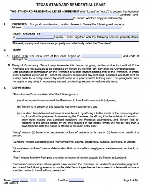 Free Texas Residential Lease Agreement   PDF   Word (.doc)