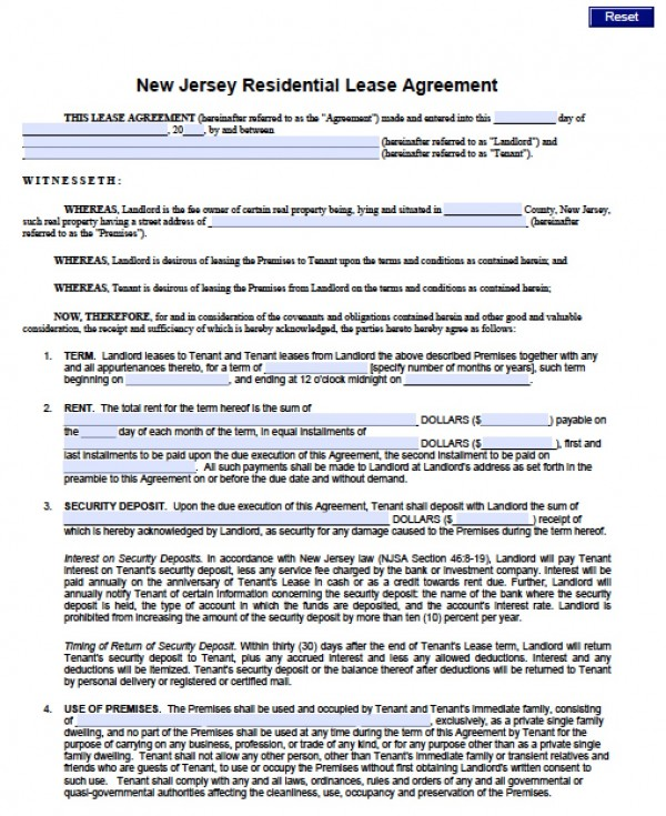 Free New Jersey Standard Residential Lease Agreement (1 Year