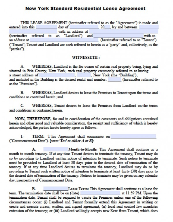 Free New York Residential Lease Agreement   PDF   Word (.doc)