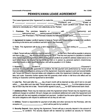 Pennsylvania Residential Lease Agreement | Create & Download
