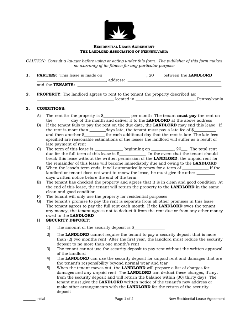 Free Pennsylvania Standard Residential Lease Agreement Form PDF
