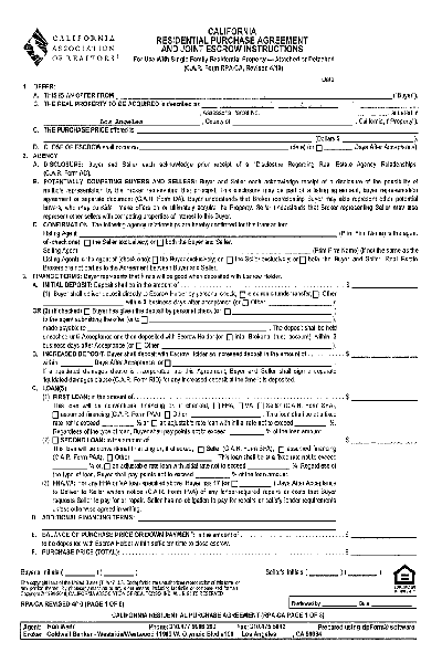 Share Form::CA Residential Purchase Agreement 1701