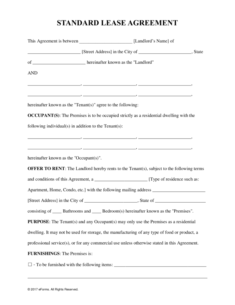 Free Standard Residential Lease Agreement Template PDF | Word