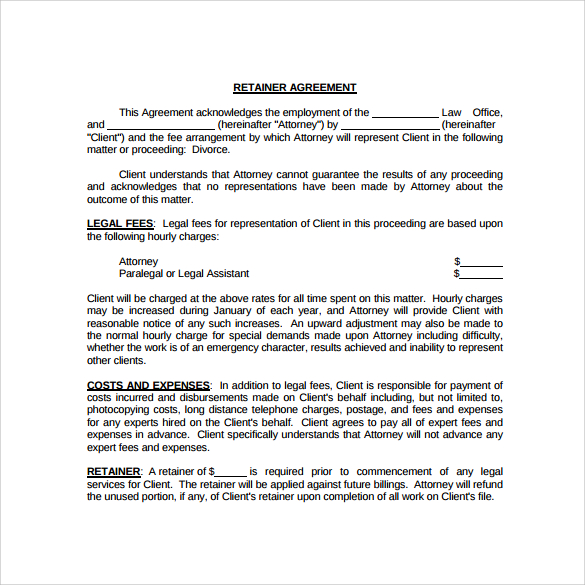 10 Free Sample Retainer Agreement Templates | Sample Templates