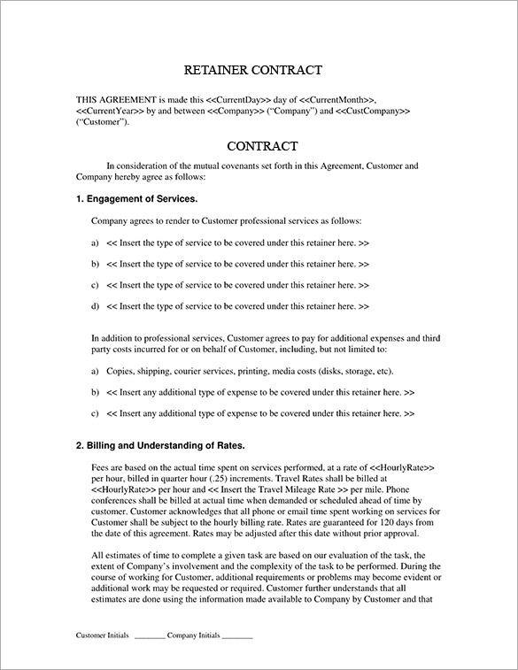 retainer fee agreement template 4 retainer contract templates free