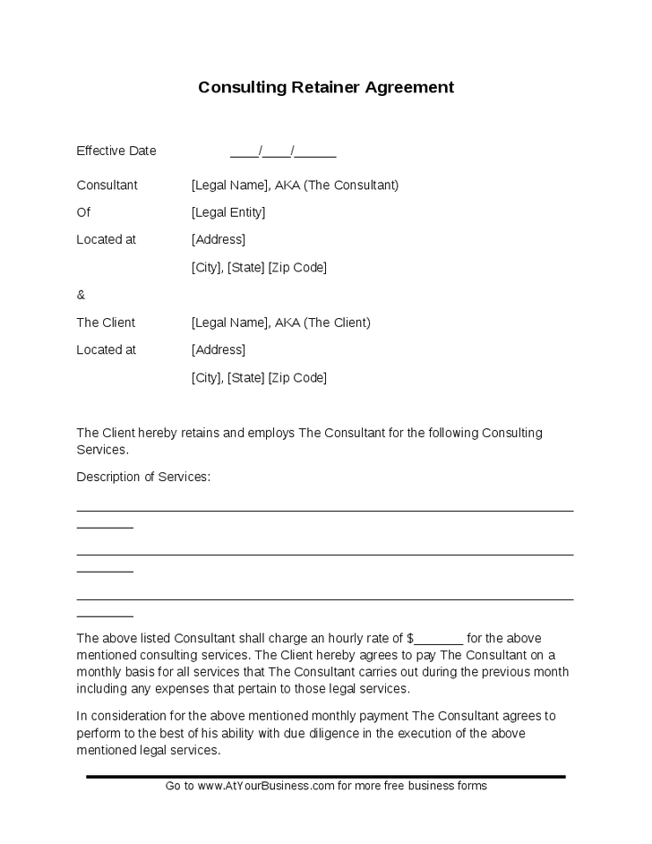 sample consulting agreement template consulting retainer agreement