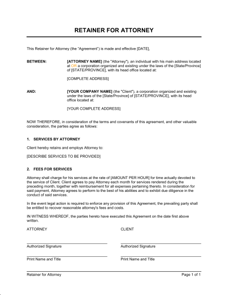 legal retainer agreement template legal retainer agreement