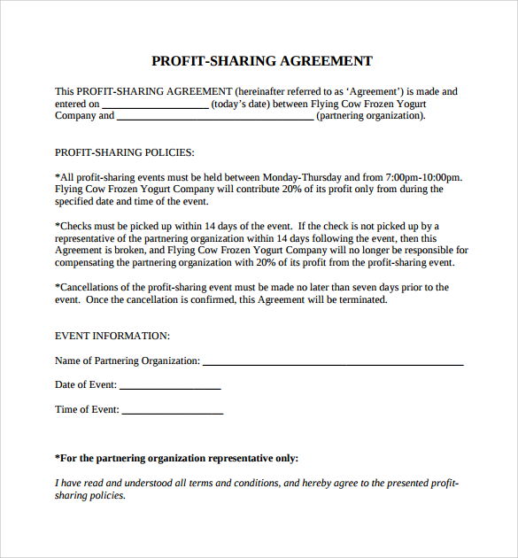 laundry revenue share agreement template profit sharing agreement