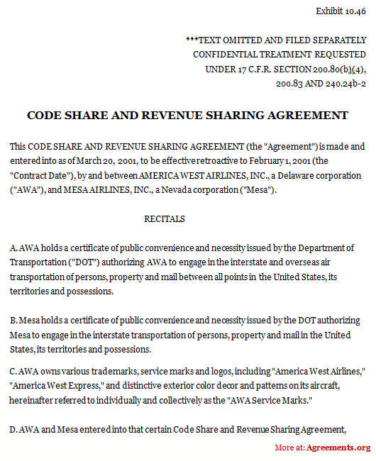 revenue sharing agreement template code share and revenue sharing