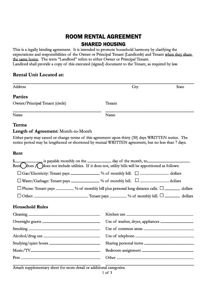 room rental agreement template california room rental agreement
