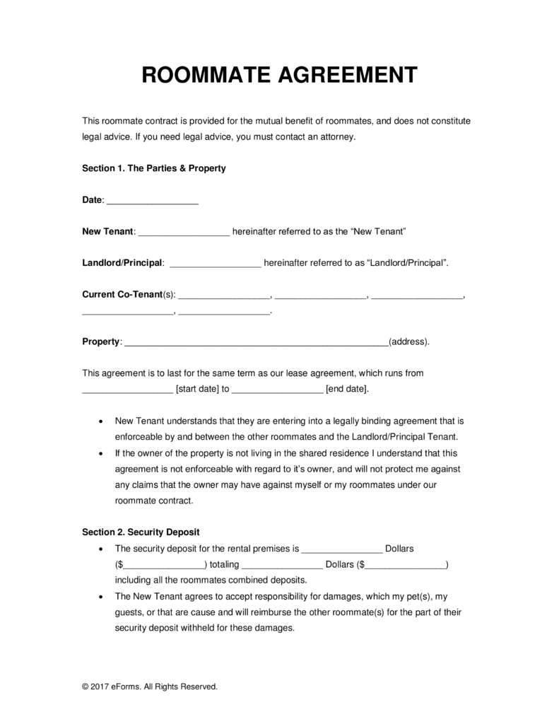 Roommate Rental Agreement Template (1) | Professional And High