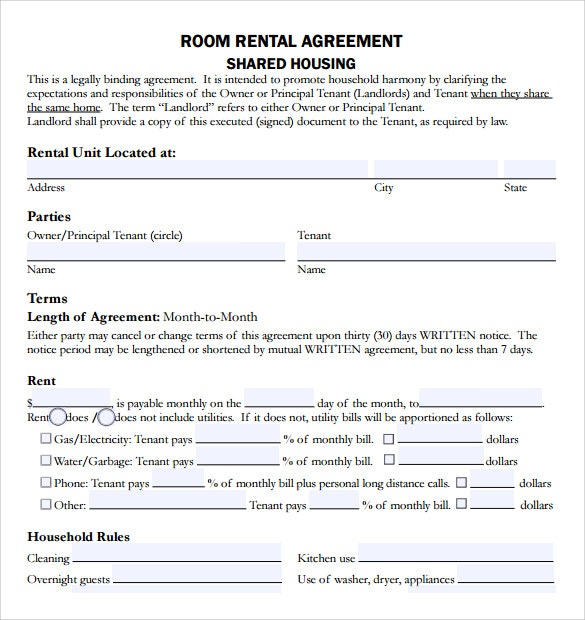 Room rental agreement Tenancy Agreement For Rooms in Shared House