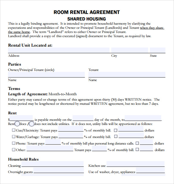 share house agreement template sample rental agreement template 8