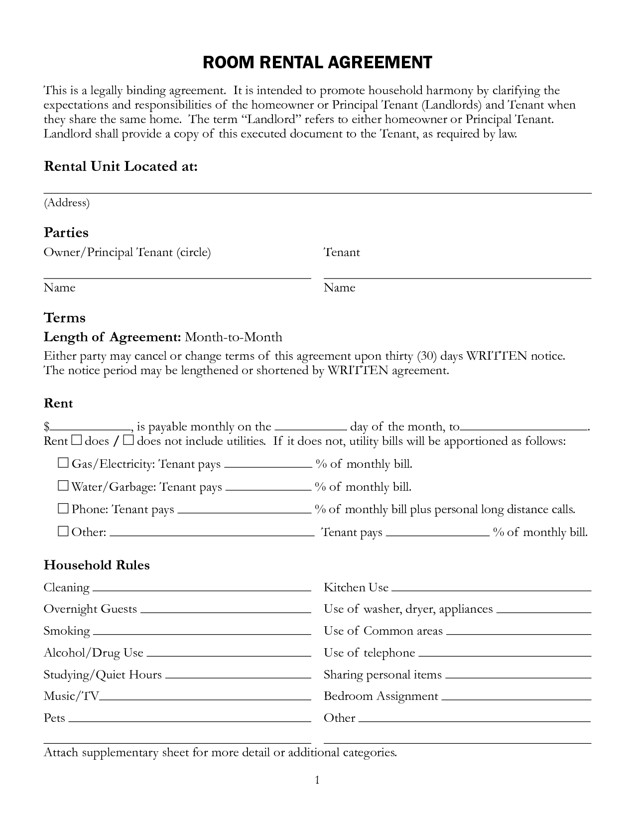Free Printable Rental Lease Agreement Form Template | Bagnas