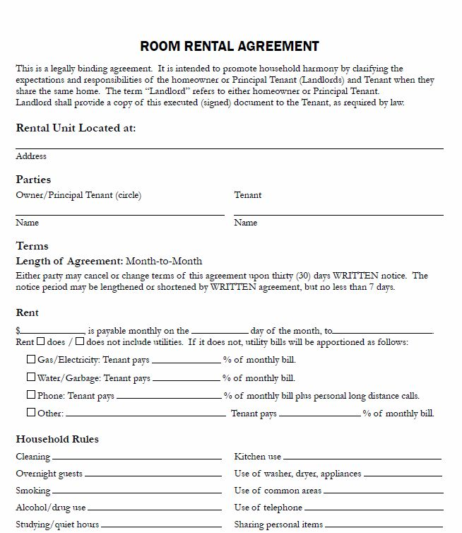 free room rental lease agreement template free room rental lease