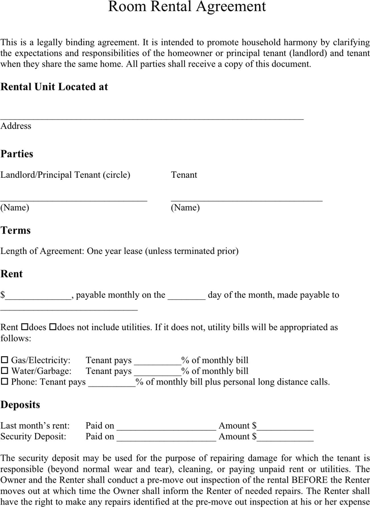 free room rental lease agreement template room agreement template