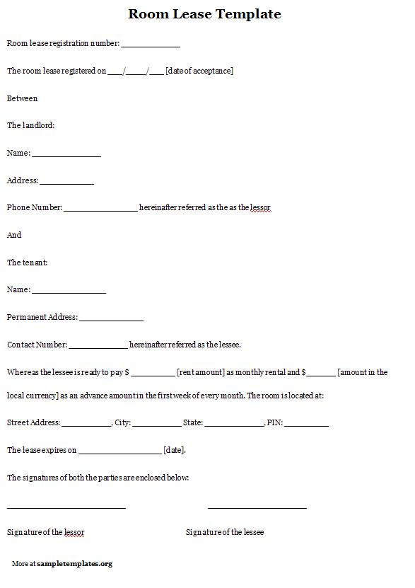 room share agreement free room rental lease agreement template