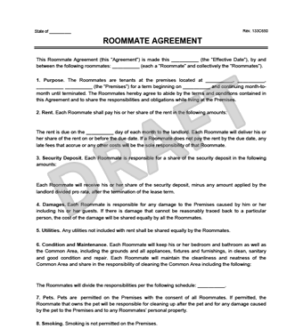 roomate agreement template roommate agreementcontract create