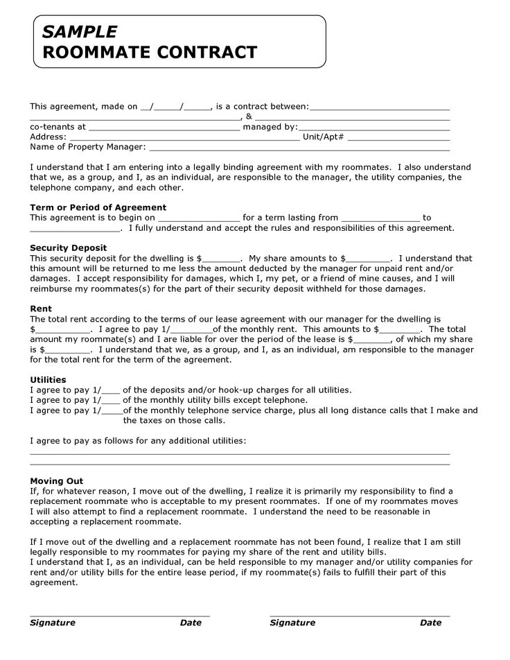 Roommate Contracts Template Roommate Agreement Roommate Agreement