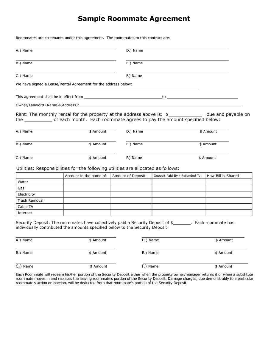 Roommate Agreement Form Gtld World Congress