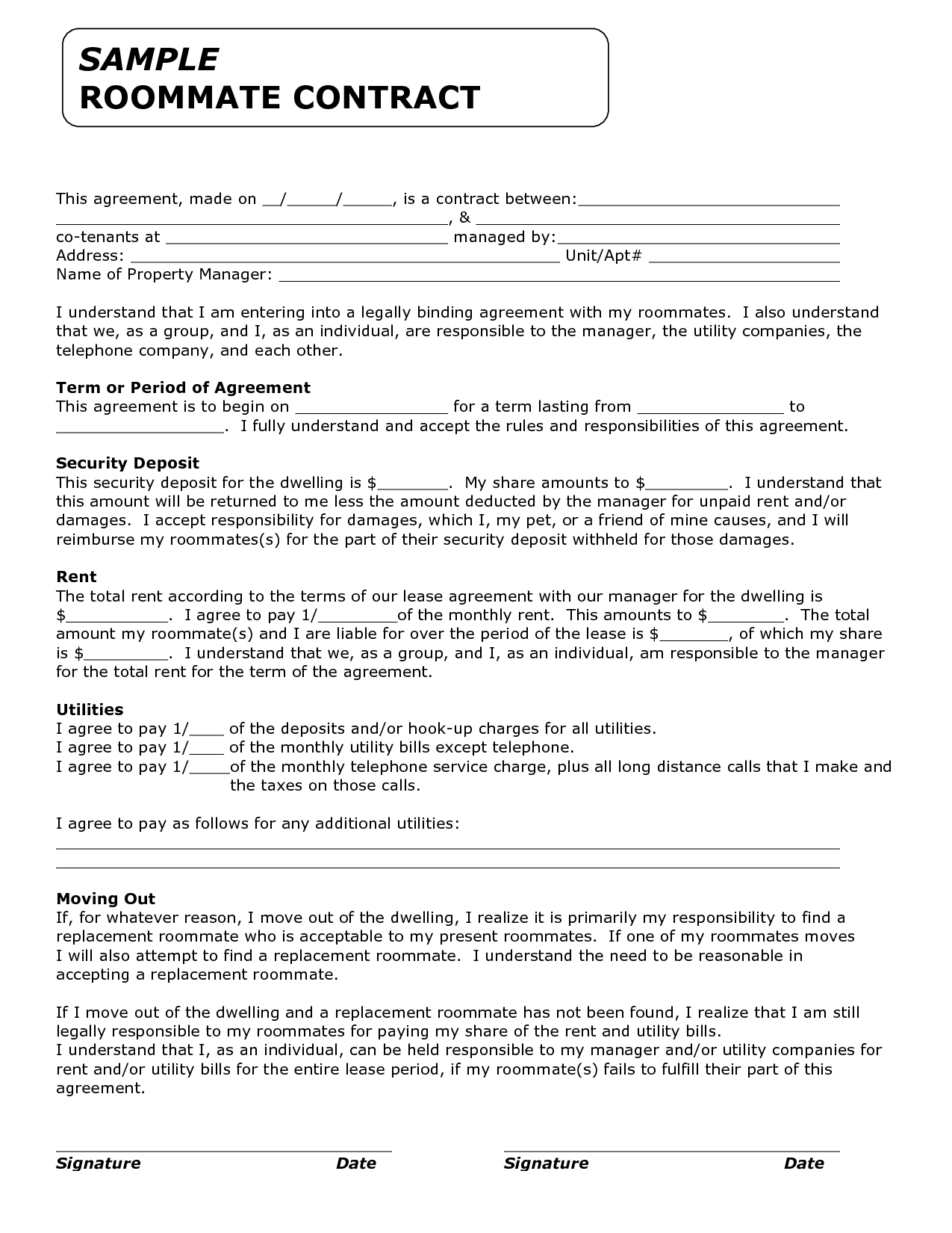 Commercial Lease Agreement Florida Template 29 Roommate Agreement