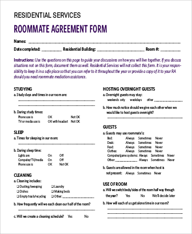 roomate agreement template sample roommate agreement form 9