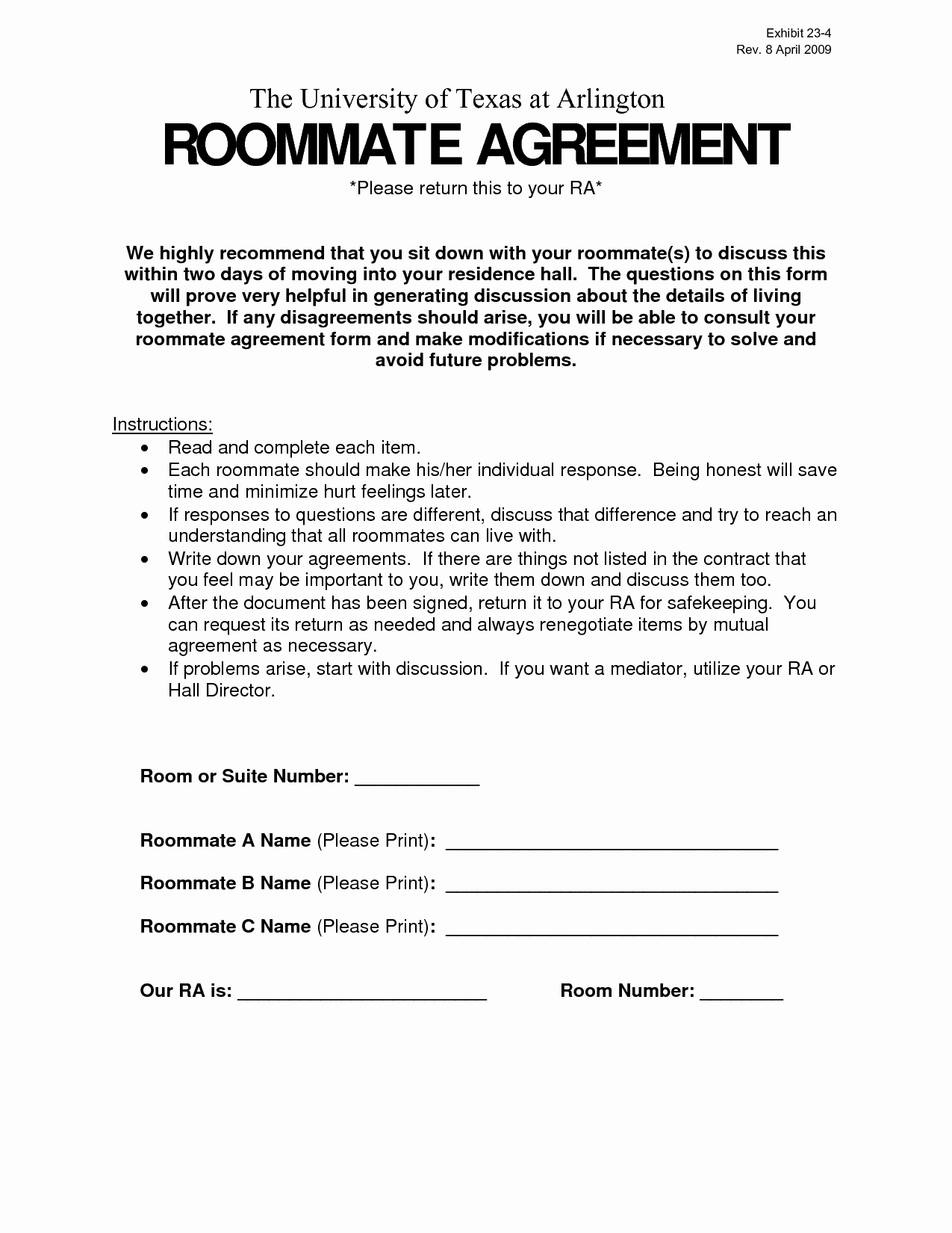 Roommate Agreement Ideas Best Of Delighted Roommate Agreement
